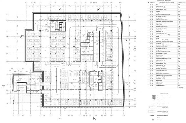 Жилой дом на ул. Новослободская. План -1 этажа © ADM