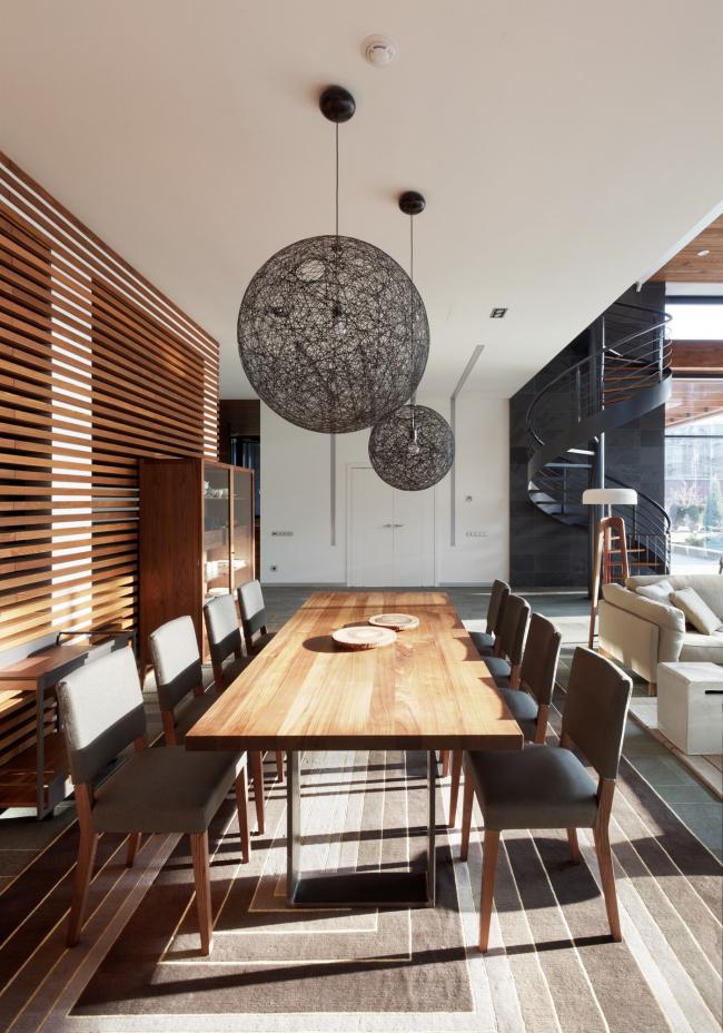 Hampton House. Country residence. Dining room. Construction, 2016 © Roman Leonidov architectural bureau