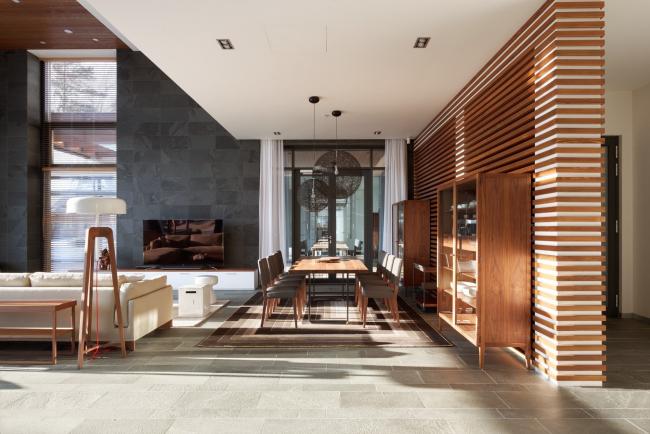 Hampton House. Country residence. Main living room. Construction, 2016 © Roman Leonidov architectural bureau