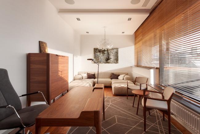 Хэмтон Хаус. Загородный дом. Кабинет. Постройка, 2016 © Архитектурное бюро Романа Леонидова
