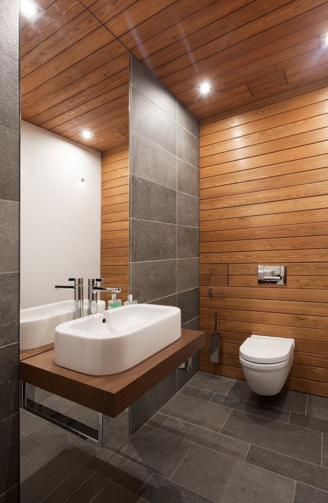 Hampton House. Country residence. bathroom. Construction, 2016 © Roman Leonidov architectural bureau