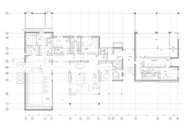 Хэмтон Хаус. Загородный дом. План 1 этажа © Архитектурное бюро Романа Леонидова
