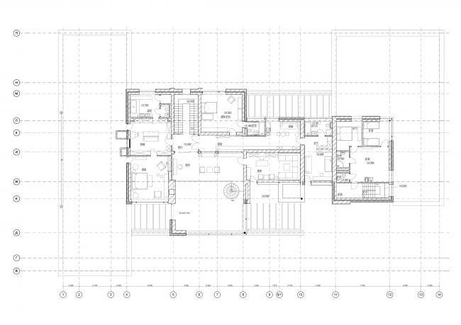 Хэмтон Хаус. Загородный дом. План 2 этажа © Архитектурное бюро Романа Леонидова