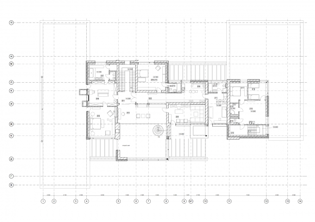 Hampton House. Country residence. Plan of the 2nd floor © Roman Leonidov architectural bureau