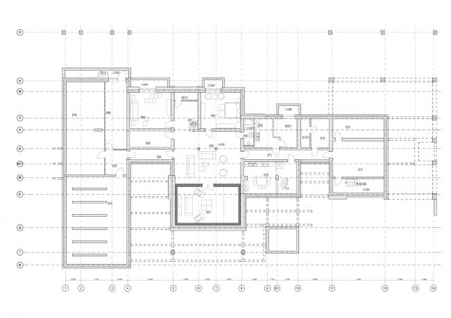 Hampton House. Country residence. Plan of the basement © Roman Leonidov architectural bureau