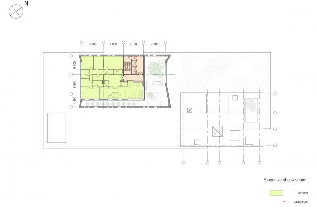 Административно-жилое здание на Малой Трубецкой улице. План верхнего жилого этажа
