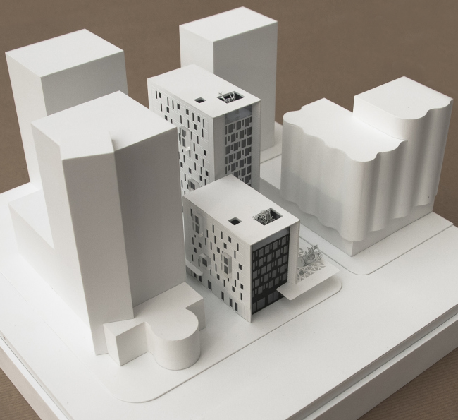 "Administrative and residential building on the Malaya Trubetskaya Street. Model © Pavel Andreev architectural firm ""Gran"""