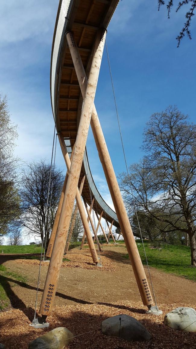 Пешеходный мост в дендрарии Уэстонбёрт, Глостершир ©  BuroHappold