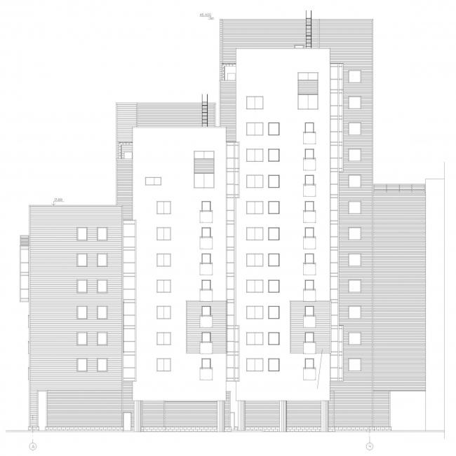 Многоквартирный жилой дом на набережной Варкауса. Фасад © Петрозаводскархпроект