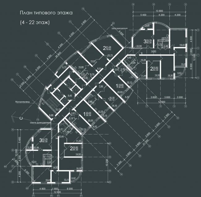Жилой комплекс «Звёздный». План 4-22 этажей © Архитектурное Бюро Штурбабиных