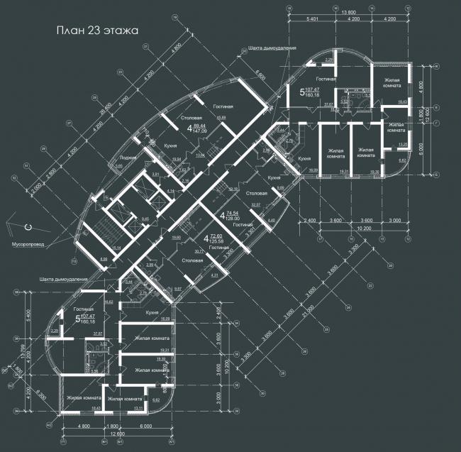 Жилой комплекс «Звёздный». План 23 этажа © Архитектурное Бюро Штурбабиных