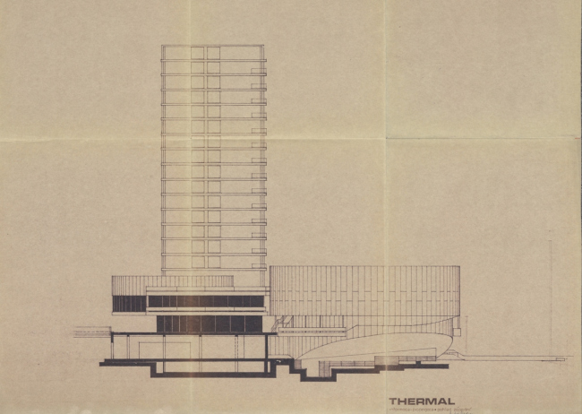 Комплекс конгресс-центра и отеля Thermal. Чертеж из архива Веры Махониной