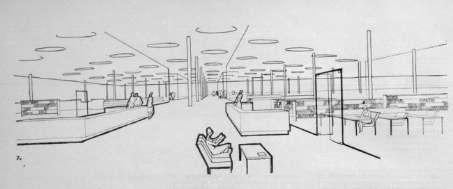 "Project of the interior design of the newsroom // ""Building and Architecture of Moscow, 1965, N8, p. 20"