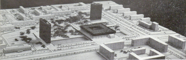 "Project of the group of institutes near the Profsoyuznaya Metro Station. Photo of a model // ""Building and Architecture of Moscow, 1965, N8, p. 18"
