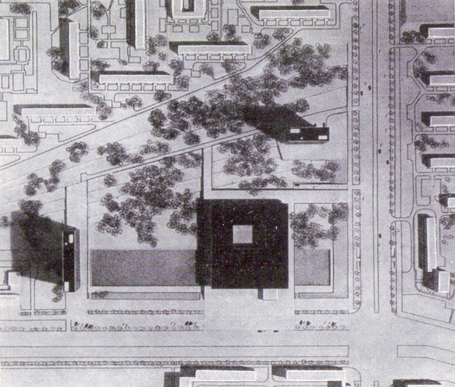 """Project of the group of institutes near the Profsoyuznaya Metro Station. Photo of a model // """"Building and Architecture of Moscow, 1965, N8, p. 18"""