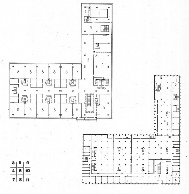 "Plans of the 2nd and 3rd floors // ""Building and Architecture of Moscow, 1974, N8, p. 14"