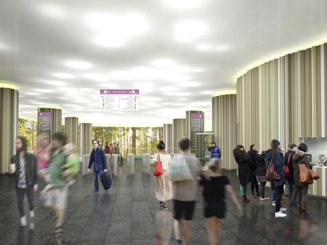 Архитектурная концепция станции метро «Нижние Мневники» © Arch group