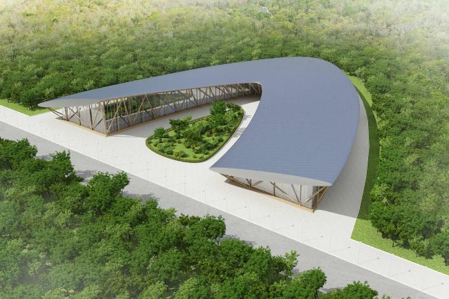 Проект физкультурно-оздоровительного комплекса. Вид сверху © Arch group