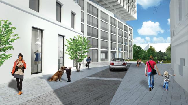 Реконструкция здания под гостиничный комплекс на Бакунинской улице. Согласованный вариант проекта, 2016. В сопоставлении прочитывается различие проектного и реализованного решения