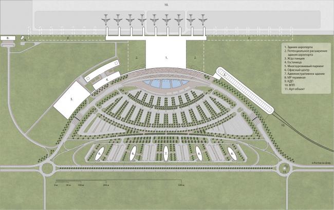 Концепция нового аэровокзального комплекса «Южный» в Ростовской области. План аэропорта © Arch group