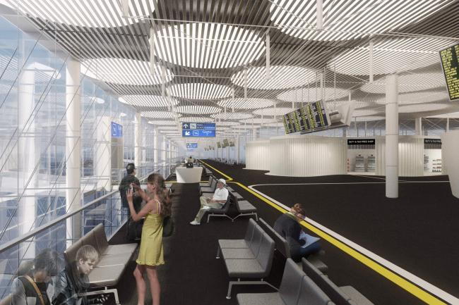 Концепция нового аэровокзального комплекса «Южный» в Ростовской области. Интерьер зала ожидания © Arch group