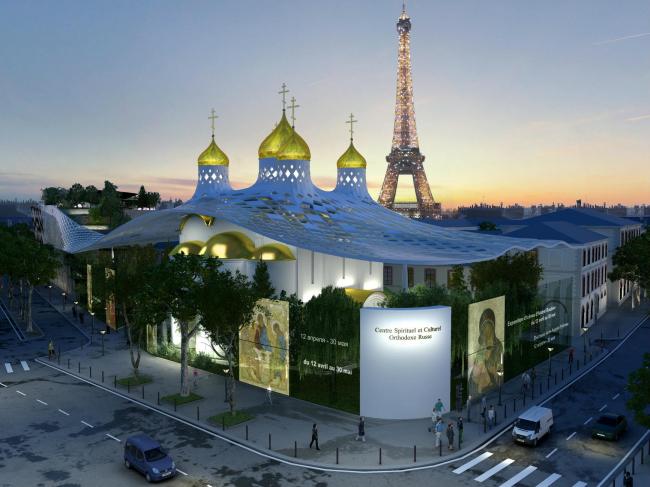 Российский культурный духовный православный центр на набережной Бранли в Париже. Конкурсный проект © Arch group