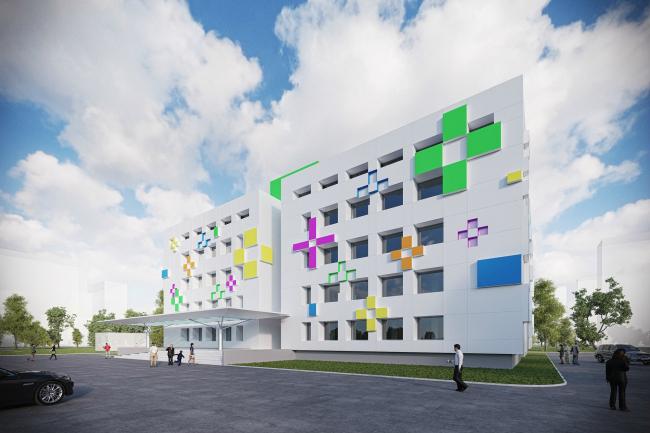 Проект реконструкции типовой поликлиники в Новопеределкино. Вариант 1 © Arch group