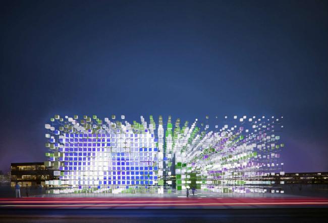 Цифровое облако. Павильон компании «МегаФон» в Олимпийском Парке на зимней Олимпиаде 2014 г. в Сочи © Arch group