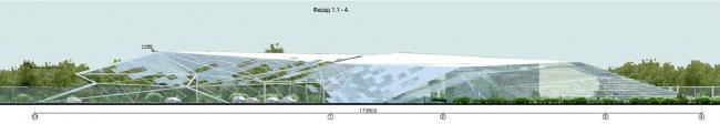 Архитектурная концепция здания центральной проходной сахарного завода Тамбовской области. Фасад © Arch group