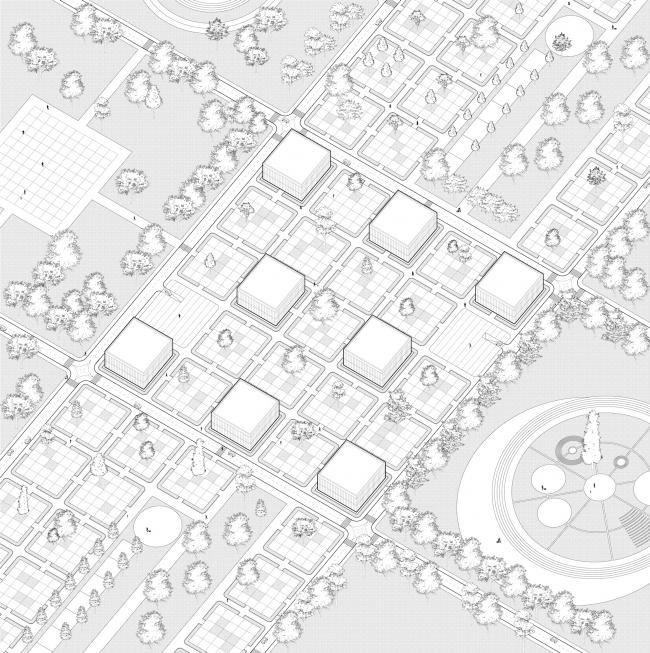 Реконструкция города Магнитогорск. Дипломный проект Михаила Князева. Аксонометрия