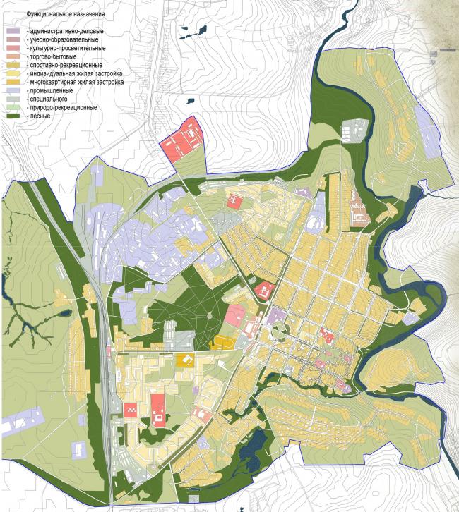 Восстановление города Венёв. Дипломный проект Евгения Жаркова. Существующая функциональная схема