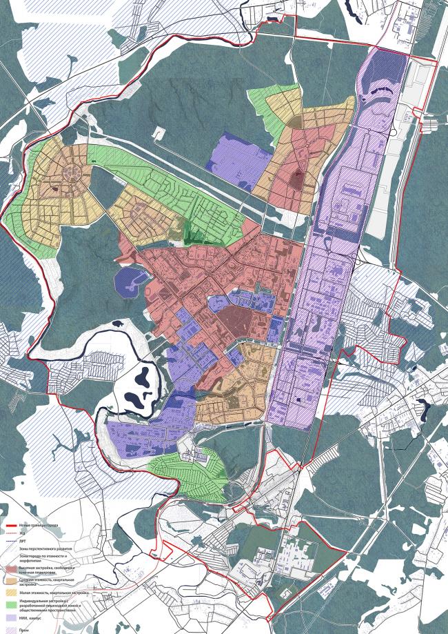 Университетский кампус в Обнинске. Дипломный проект Елизаветы Петровой. Схема морфотипов города