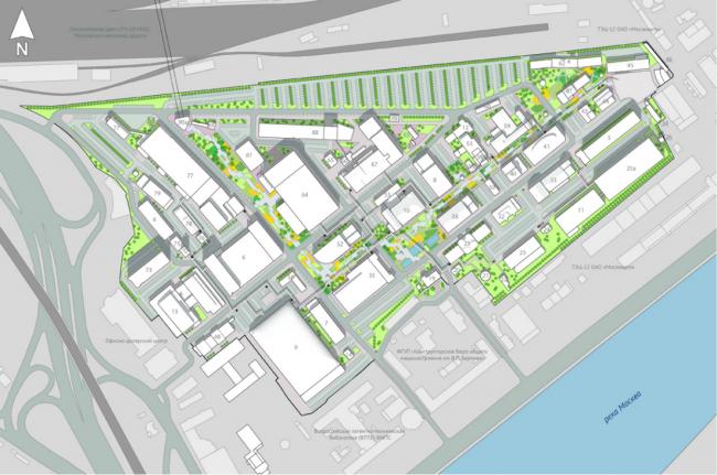 Концепция реновации территории участка на Бережковской набережной © Arch group