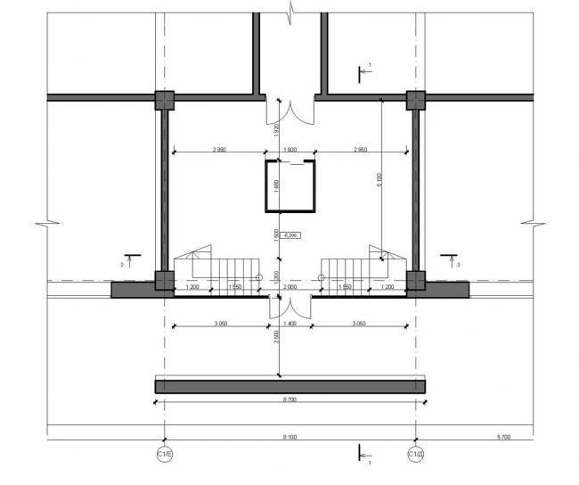 Концепция центральной входной группы жилого комплекса «Ньютон». Фрагмент плана с входной группой на отм. -5,200 © Arch group