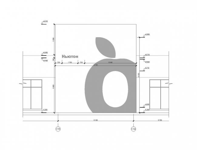 Концепция центральной входной группы жилого комплекса «Ньютон». Фрагмент фасада С1/Е-С1/Д с входной группой © Arch group