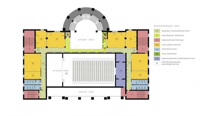 Проект Дома культуры «Зодчие» в Москве. План-схема 3 этажа © Arch group