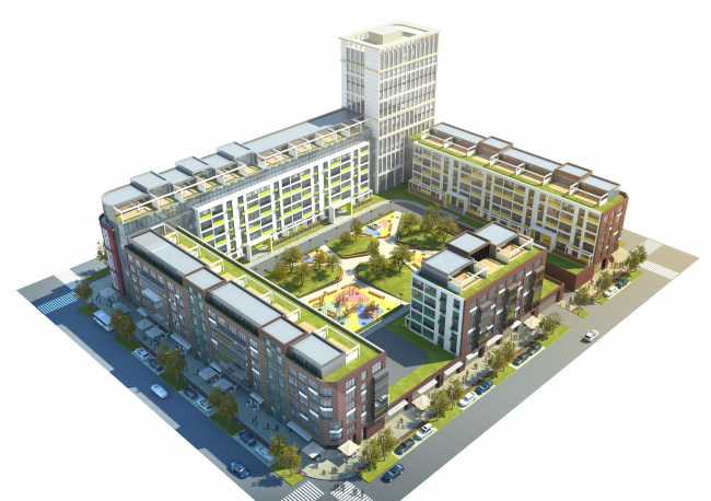 Развитие территории в Саратове. Жилой блок. Проект, 2016 © Архитектурное бюро Асадова