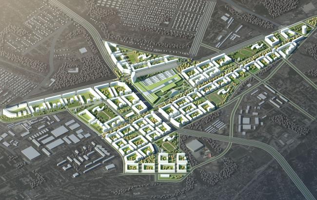 Развитие территории в Саратове. Вид с высоты птичьего полета. Проект, 2016 © Архитектурное бюро Асадова
