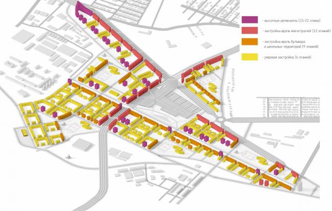 Развитие территории в Саратове. Схема высот. Проект, 2016 © Архитектурное бюро Асадова