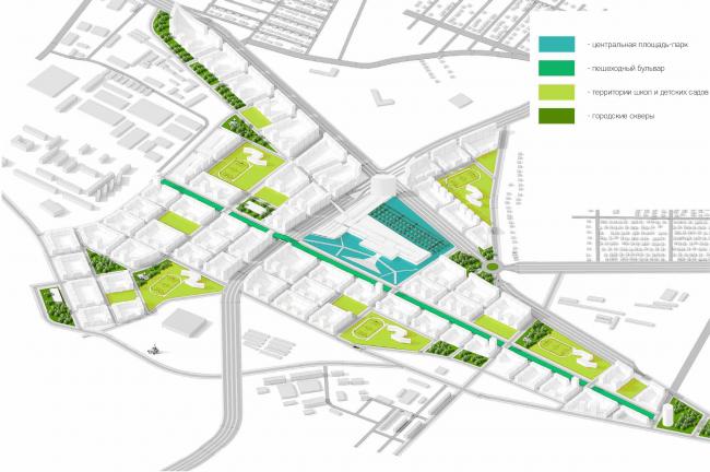 Развитие территории в Саратове. Схема благоустройства. Проект, 2016 © Архитектурное бюро Асадова