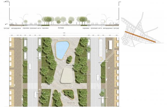 Развитие территории в Саратове. Центральный бульвар. Проект, 2016 © Архитектурное бюро Асадова