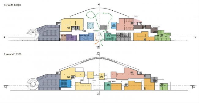 Музейно-выставочный комплекс ГЦСИ. Конкурсный проект. Планы 1 и 2 этажей © Arch group