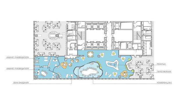Концепция офисного пространства для компании Kimberly-Clark. Клиентская зона и Reception © Arch group