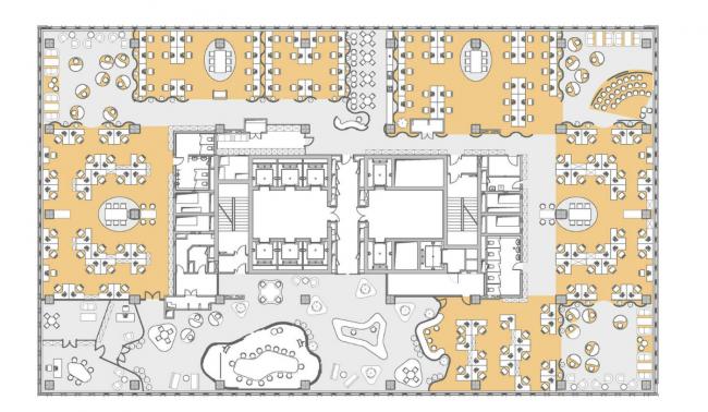 Концепция офисного пространства для компании Kimberly-Clark. Рабочее пространство © Arch group