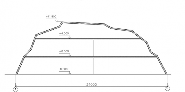 Архитектурная концепция здания центральной проходной сахарного завода Тамбовской области. Разрез 1-1 © Arch group