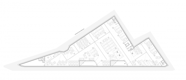Multifunctional complex on the Zemlyanoy Val Street. Plan of the -2nd floor © Ginsburg Architects