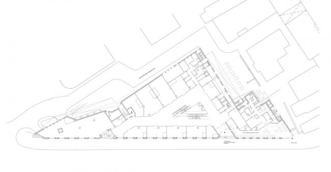 Многофункциональный комплекс на ул. Земляной Вал. План 1 этажа © Гинзбург Архитектс