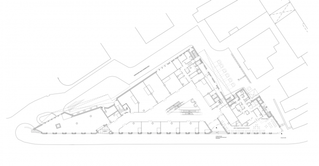 Multifunctional complex on the Zemlyanoy Val Street. Plan of the 1st floor © Ginsburg Architects