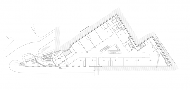Multifunctional complex on the Zemlyanoy Val Street. Plan of the basement floor © Ginsburg Architects
