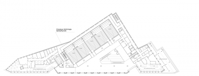 Multifunctional complex on the Zemlyanoy Val Street. Plan of the 4th floor © Ginsburg Architects